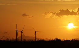 Turbines and Sunset Royalty Free Stock Images