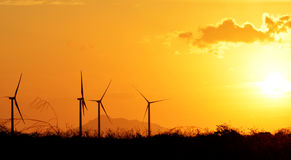 Turbines and Sunset Royalty Free Stock Image