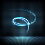 Turbinio al neon d'ardore con le linee distorte, scintille luminose fotografie stock libere da diritti