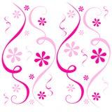 Turbinio dei coriandoli dei fiori di colore rosa illustrazione di stock