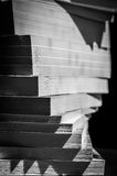 Turbinio dei libri impilati in bianco e nero Immagine Stock