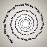 Turbinio, fondo di vortice Spirale girante Parola, testo, vendita, affare, commercio, sconti Fotografie Stock Libere da Diritti