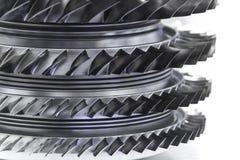 Turbinmotor Flygteknologier Flygplanjetmotordetalj i utläggningen Tonade blått Arkivfoto
