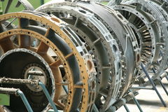 Turbinowego silnika profil Lotnictwo technologie Samolotu dżetowego silnika szczegół w ekspozyci Fotografia Stock