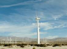 Turbines at wind power plant in California, USA Stock Photo