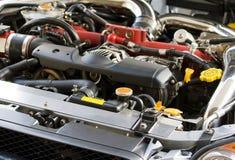 Turbo Car Engine. Turbo engine under the hood of a Japanese race car royalty free stock photos