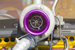 Turbo charger on race car Stock Photo