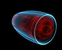Turbo dżetowy silnik 3D xray czerwień i błękitny przejrzysty () Fotografia Stock