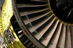 Turbo fan. Jet engine intake Stock Photo