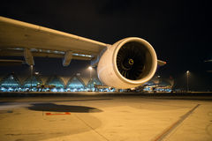 Turbo fan of a airplane. Parking at gate in Suvarnabhumi Airport, Thailand Stock Image