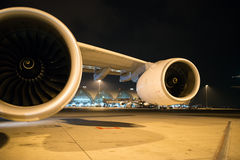 Turbo fan of a airplane. Parking at gate in Suvarnabhumi Airport, Thailand Stock Photography