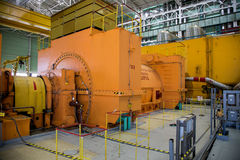 Turbo generator at the machinery room of Nuclear Power Plant Stock Image