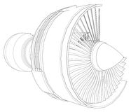 Turbo jet engine aircraft. Vector line illustration. Royalty Free Stock Photography