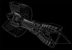 Turbo jet engine aircraft. Vector line illustration. Royalty Free Stock Photos