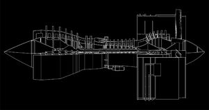 Turbo jet engine aircraft. Vector line illustration. Turbo jet engine aircraft. Vector line illustration Royalty Free Stock Photos