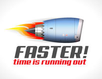 Turbo jet engine concept. Faster - turbo jet engine concept - time is running out Royalty Free Stock Photos