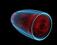 Turbo jet engine (3D xray red and blue transparent). Turbo jet engine (3D xray red and blue transparent isolated on black background Stock Photography