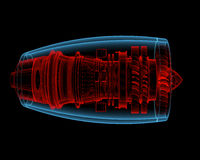 Turbo jet engine (3D xray red and blue transparent). Turbo jet engine (3D xray red and blue transparent isolated on black background Royalty Free Stock Images