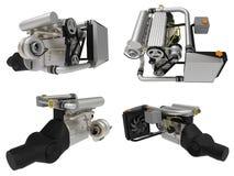 Turbo moteur à quatre cylindres et performant réglé pour une voiture de sport rendu 3d illustration de vecteur