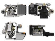 Turbo moteur à quatre cylindres et performant réglé pour une voiture de sport rendu 3d illustration stock