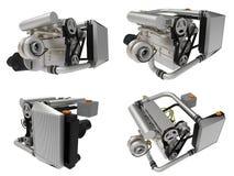 Turbo moteur à quatre cylindres et performant réglé pour une voiture de sport rendu 3d illustration libre de droits