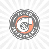 Turbo performance icon badge with car turbocharger compressor symbol Stock Images