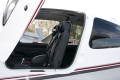 Turbo-Prop Aircraft Cockpit Seating. Deluxe leather seating adorns the cockpit this new luxury turbo-prop aircraft stock photos