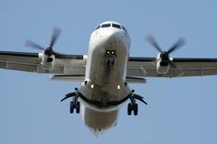 Turbo-prop airplane. Landing - frontview Stock Image