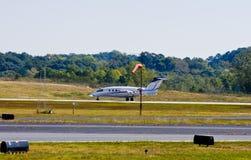Turbo Prop Landing Into Wind Stock Photo