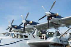 Turbo-Prop Pratt u. Whitney Canada PT6A-45, Nahaufnahme Flugboot Dornier tun amphibisch moderne Replik 24ATT lizenzfreies stockbild