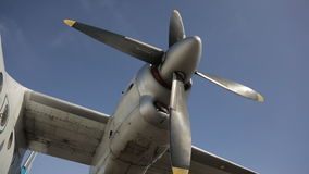 Turbo-propeller engine of passenger plane with feathering elements. Blades of turbo-propeller engine of passenger plane with feathering elements. Feathering stock footage