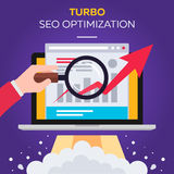Turbo SEO optimization. Vector flat Stock Images