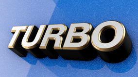TURBO sign, label, badge, emblem or design element on car paint, Royalty Free Stock Images