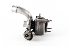 Turbo. The silver turbo of the combustion engine Stock Photo