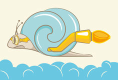 Turbo snail. Vector illustration snails in flight above the clouds stock illustration