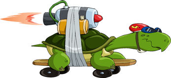Turbo turtle. Turtle with a jet engine, vector Stock Images
