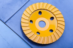 Turbo yellow Diamond disk for a concrete abrasion Royalty Free Stock Photos