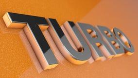 TURBO-Zeichen, -aufkleber, -ausweis, -emblem oder -Gestaltungselement auf Autofarbe, Lizenzfreies Stockfoto