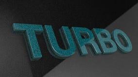 TURBO-Zeichen, -aufkleber, -ausweis, -emblem oder -Gestaltungselement auf Autofarbe, Stockbild