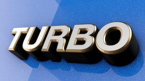 TURBO-Zeichen, -aufkleber, -ausweis, -emblem oder -Gestaltungselement auf Autofarbe, Lizenzfreie Stockbilder