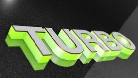 TURBO-Zeichen, -aufkleber, -ausweis, -emblem oder -Gestaltungselement auf Autofarbe, Stockfotografie