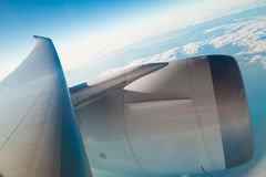 Turbocharged airplane wing Royalty Free Stock Images