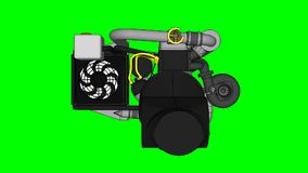 Turbocharged four-cylinder, high-performance engine for a sports car. The model rotates around the central axis. Cyclic. Animation on a green background stock video