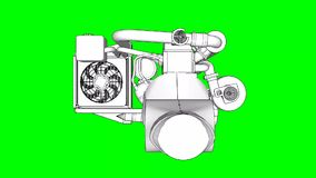 Turbocharged four-cylinder, high-performance engine for a sports car. The model rotates around the central axis. Cyclic. Animation on a green background stock video footage
