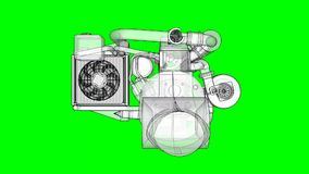Turbocharged four-cylinder, high-performance engine for a sports car. The model rotates around the central axis. Cyclic. Animation on a green background stock footage