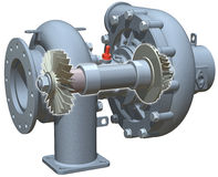 TurboCharger Cutaway. 3D illustration of turbocharger, showing interior shaft with turbine and compressor Royalty Free Stock Images