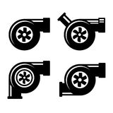 Turbocharger Icons Set Isolated on a White Background. Vector Royalty Free Stock Photo