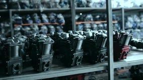 Turbocharger shop, turbocompressors stock video footage