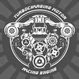 Turbocharging racing engine - motor emblem. Turbocharging racing engine - power motor emblem Royalty Free Stock Images