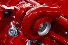 Turbocompresor del motor rojo Imagen de archivo